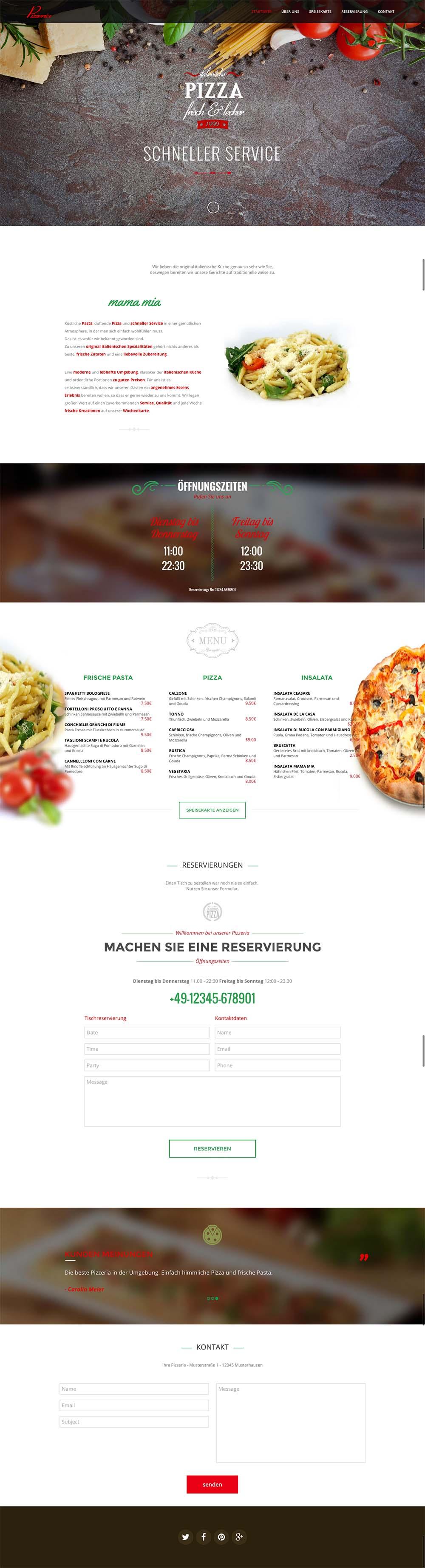 Pizzeria Webseite