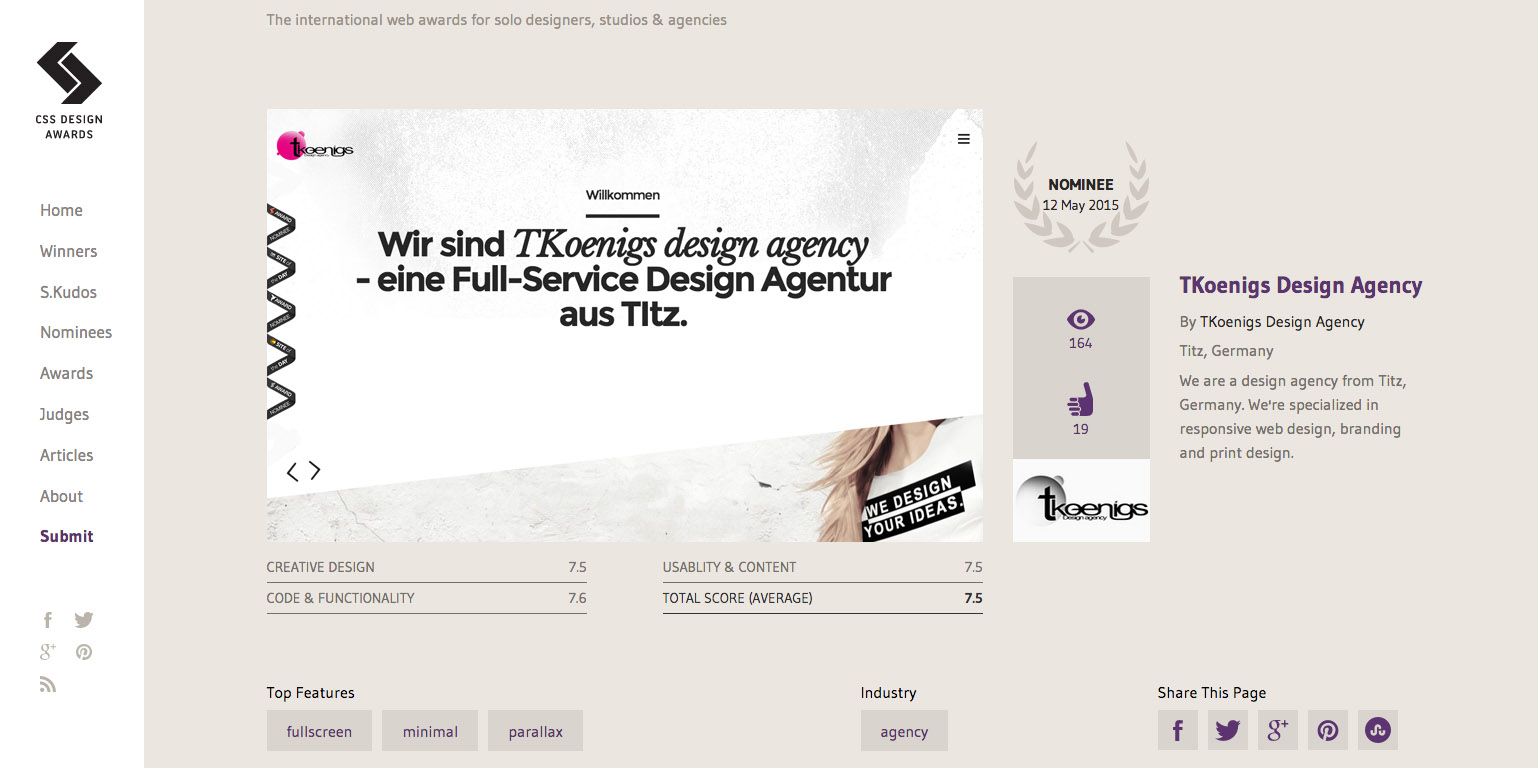 TKoenigs webdesign - CSS DESIGN AWARDS nominated site of the day